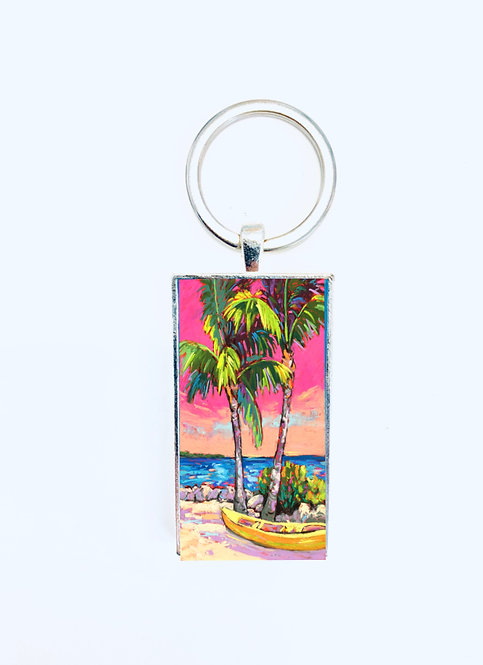 Palms & Kayak Keychain: Sally C. Evans