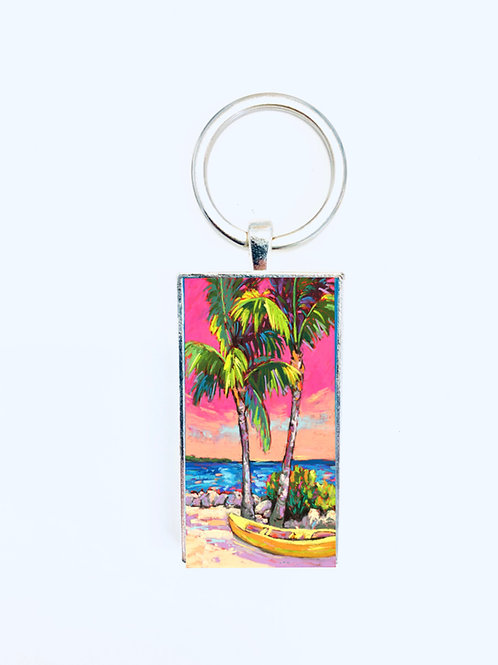 Palms & Kayak Keychain: Sally C. Evans