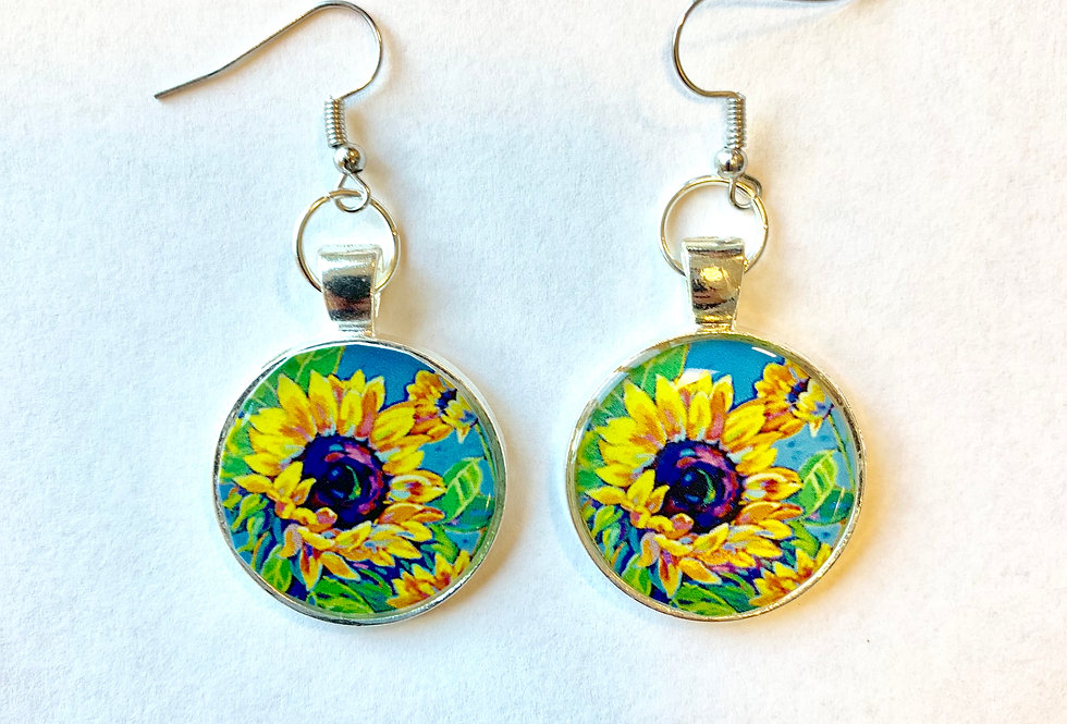 Sunflowers Dance in Blue Earrings: Sally C. Evans Collection