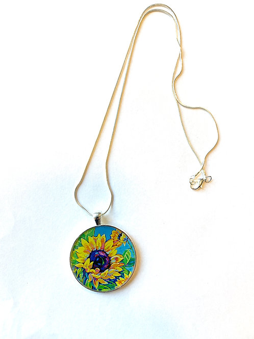 Sunflowers Dance in Blue Necklace: Sally C. Evans Collection