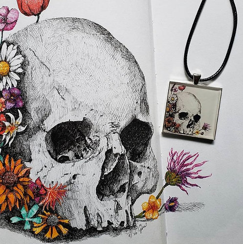 Flowers & Skull Necklace by Andy Saputo