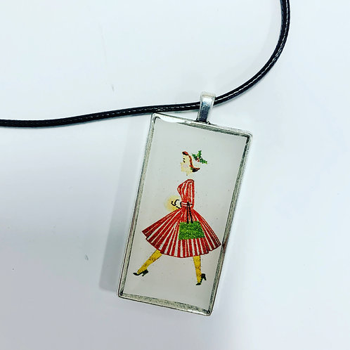Kitschy Holiday Lady Necklace