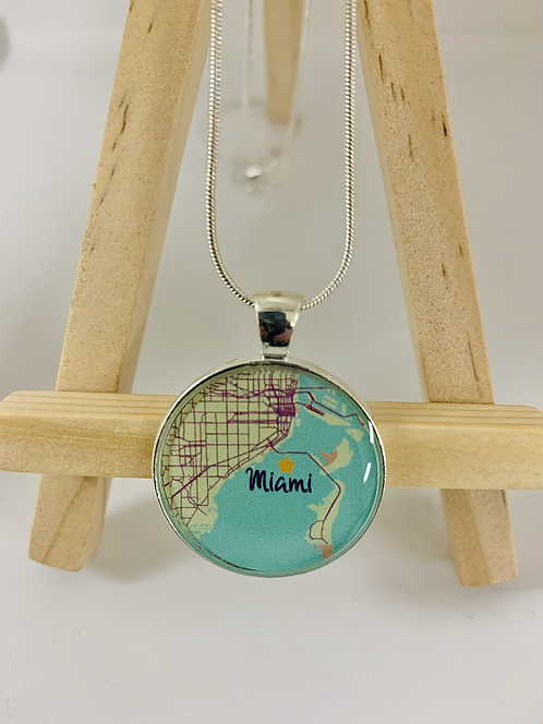 Miami Hometown Map Necklace