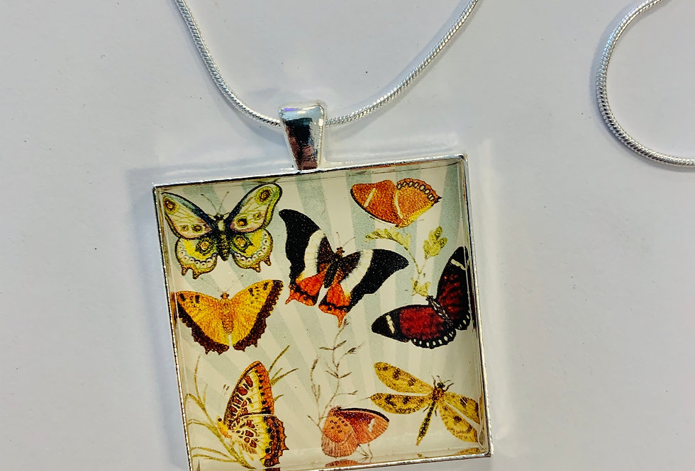 """Butterfly Necklace: 1.5"""" Medallion"""