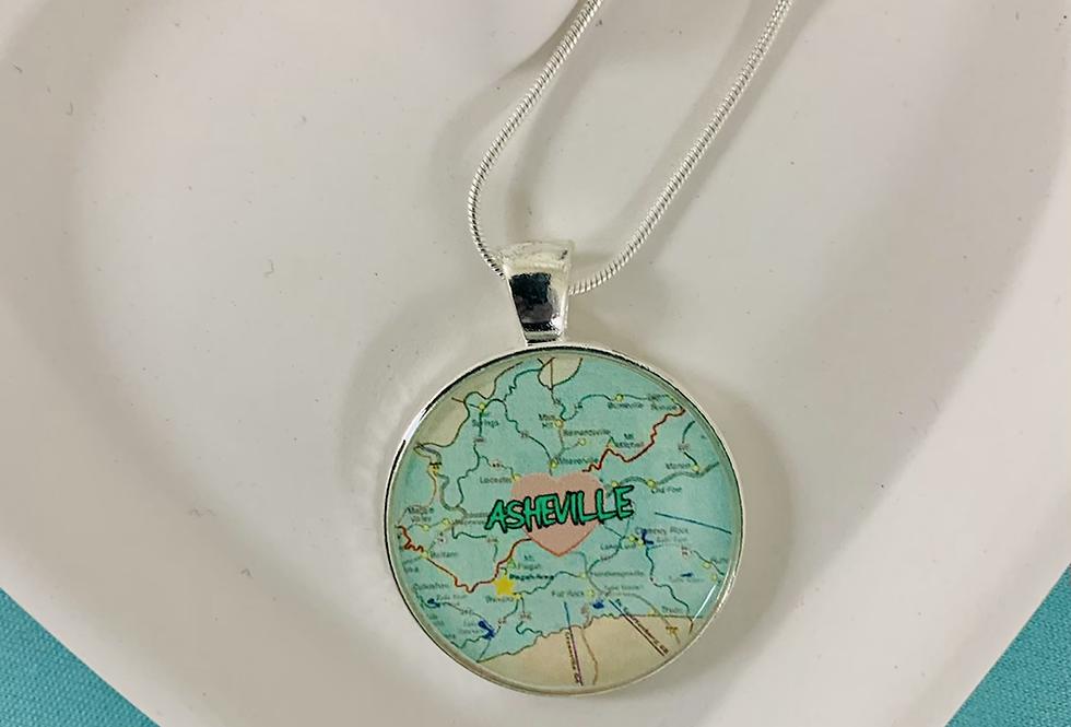 Asheville NC Map Necklace