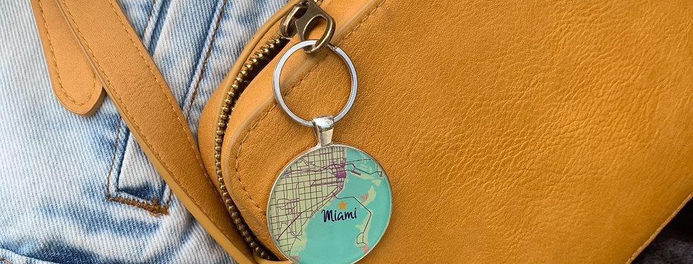 Miami Map Keychain