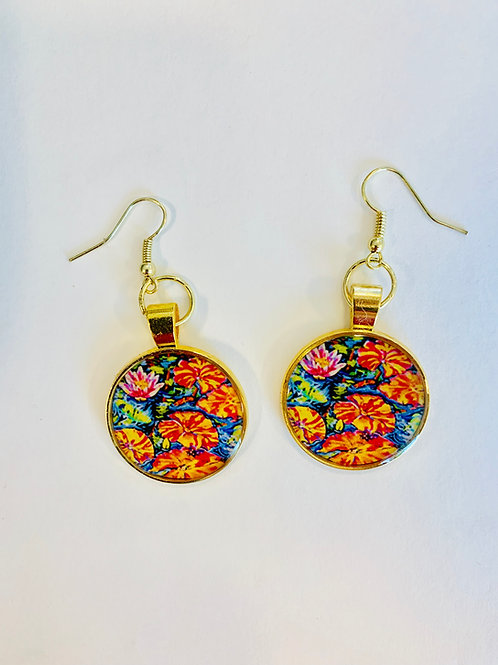 Lilies Dance with Koi Earrings: Sally C. Evans Collection
