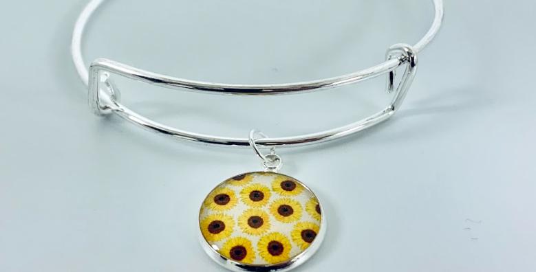 Sunflower Charm Bangle
