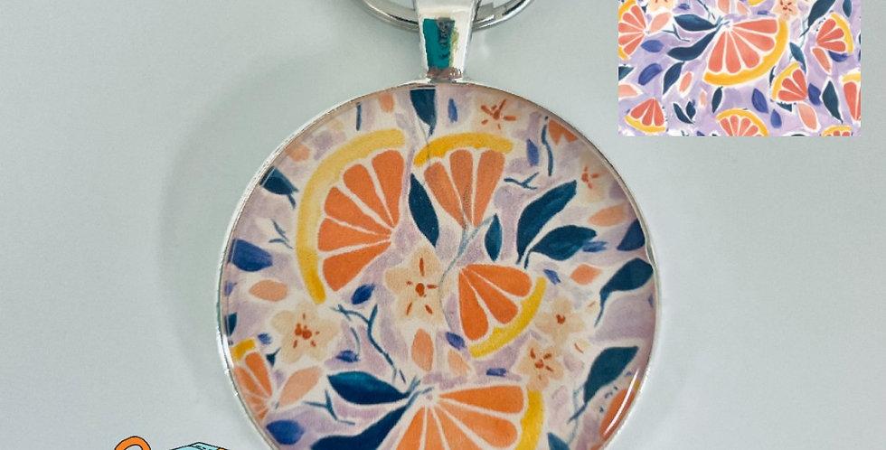 Painterly Grapefruit Keychain by Charlotte Nicholson Design