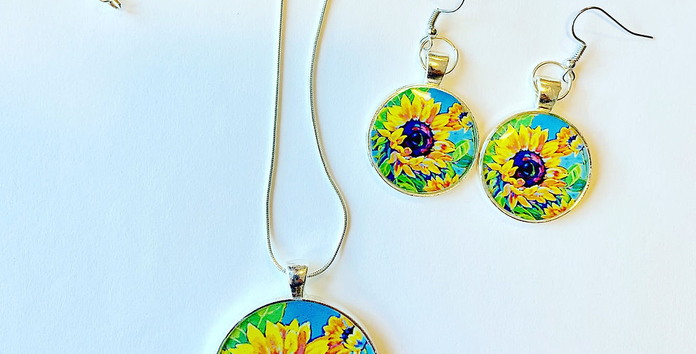 Sunflowers Dance in Blue Jewelry Set: Sally C. Evans Collection