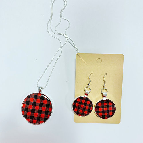 Cozy Plaid Set: Earrings & Necklace