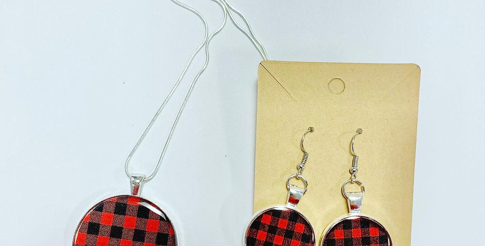 Cozy Plaid Set: Earrings & Necklace
