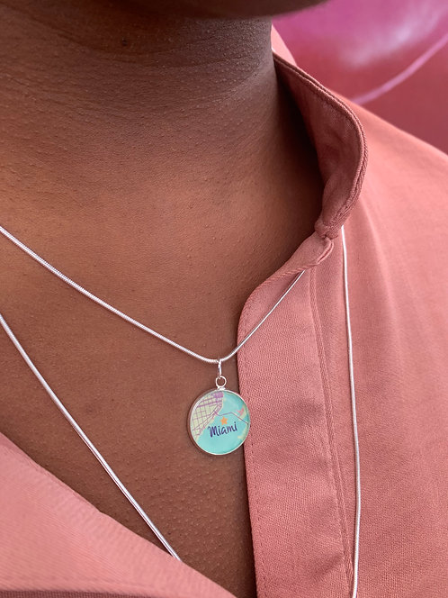 Miami Map Charm Layered Necklace