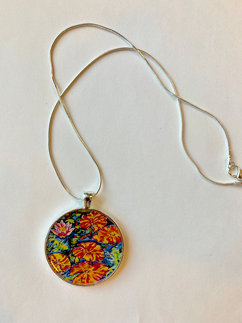 Lilies Dance with Koi Necklace: Sally C. Evans Collection