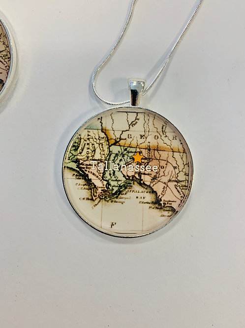 """Tallahassee Map Necklace: 1.5"""" Medallion"""