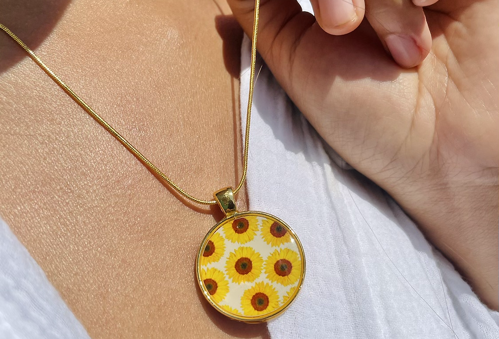 Sunflower Field Small Medallion Necklace
