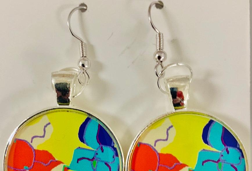 Bright Flower Cuts Earrings by Melissa Bradley
