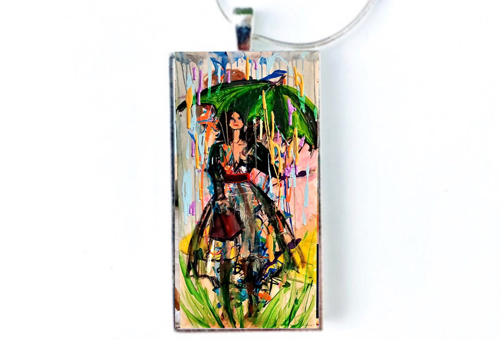 Woman in Rain Necklace