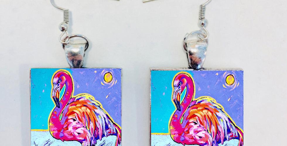 Pink Flamingo Earrings: Sally C.  Evans