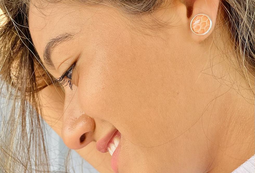 Orange Shell Stud Earrings