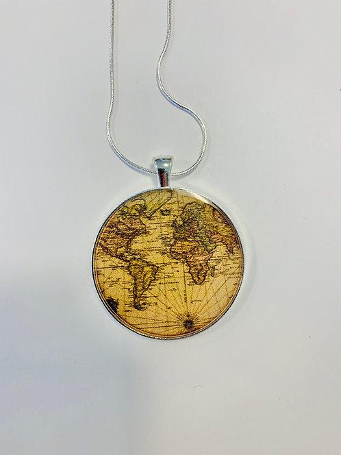 Vintage World Map Necklace