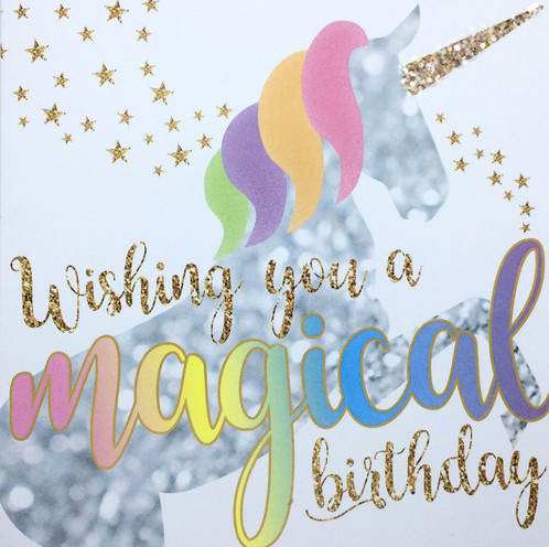 Wish Someone A Happy Birthday With This Beautiful Unicorn Card Hand Finished Glittery Horn The Stars And Tail Continue On Reverse While