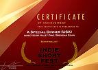 A Speical Dinner Indie Short Fest LA cert.jpg