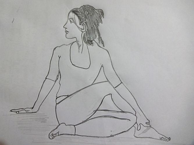 Ardhmatsyendra Asana, half Spinal twist pose in detail