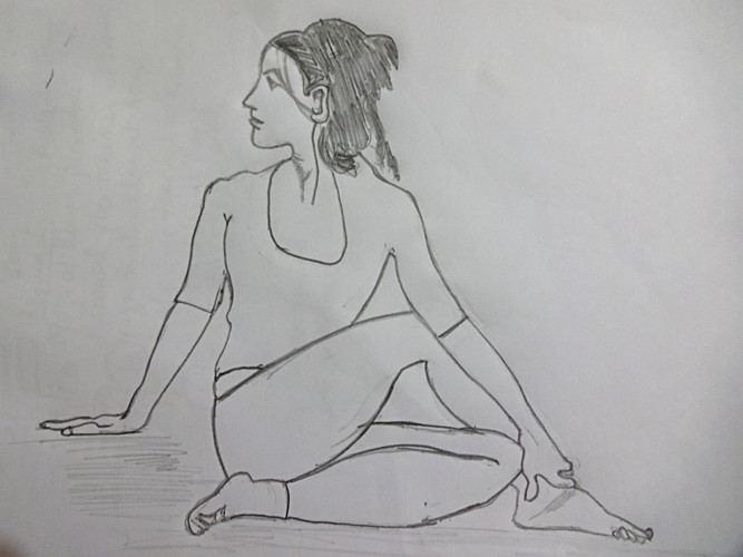 Ardhmatsyendra Asana, half Spinal twist pose in detail