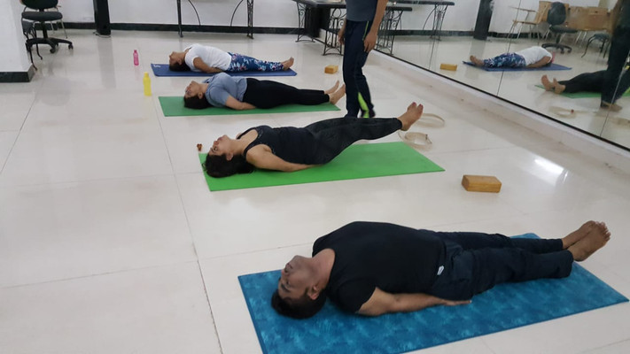 Matsyasana, basic fish pose in our Yoga class