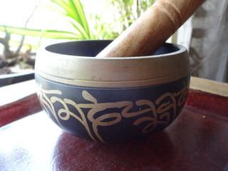 Golden Design on Black Singing Bowl for meditation