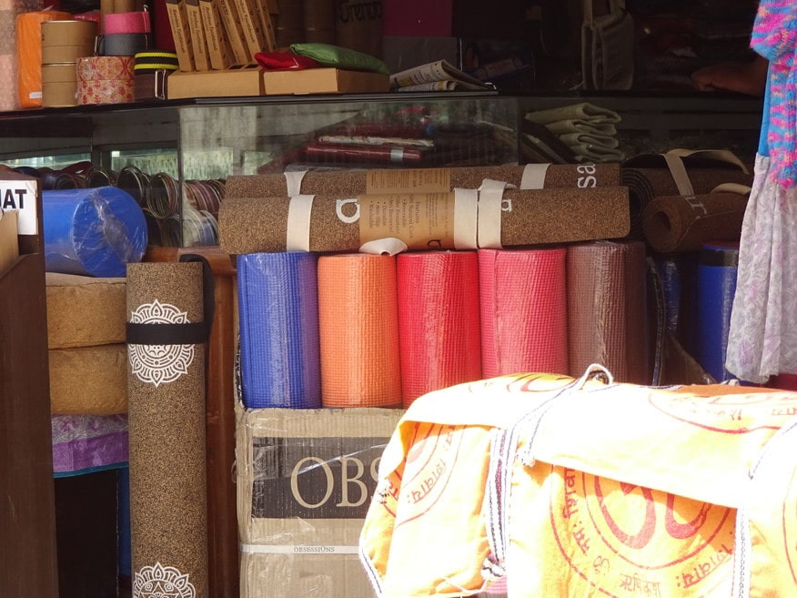 Yoga mats at display Rishikesh