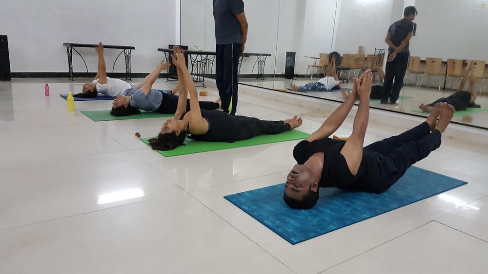 Matsyasana in yoga Asana class