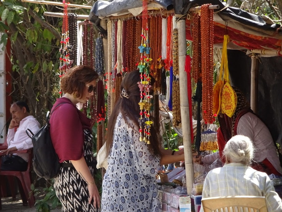 Foreigners at a mala stall Rishikesh