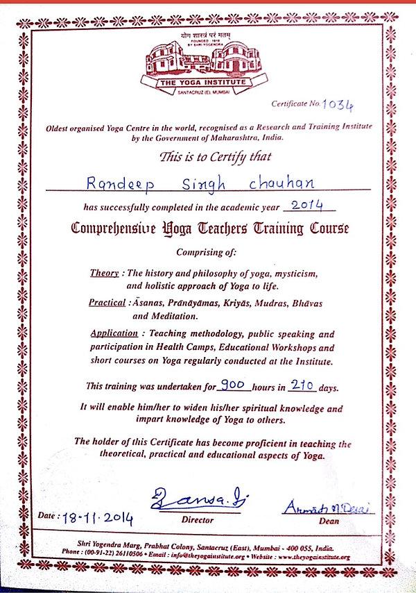 Yoga teacher certificate