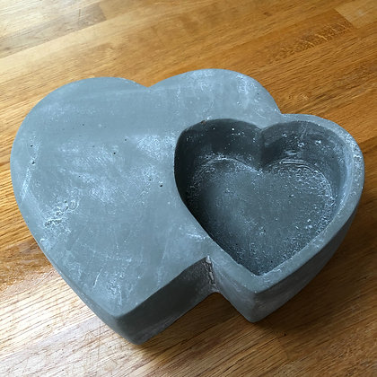 Concrete heart in heart bowl