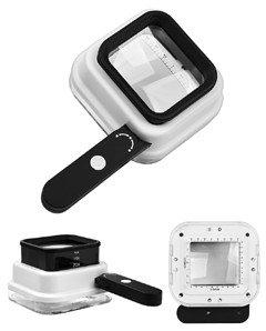 Лупа контактная измерительная 10х/15x/20x-55мм с подсветкой + ультрафиолет (8 LE