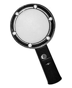 Лупа ручная круглая 5х-75мм для чтения с подсветкой (6 LED, черная) Kromatech ZB