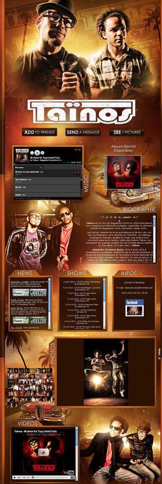 site officiel taïnos myspace design
