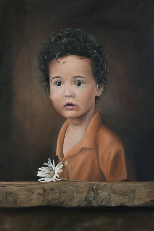 BOY WITH  A WHITE DAISY