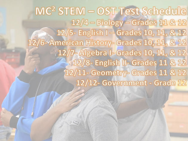MC2 STEM High School Student and Parent Weekly Notes: 12/4/2017