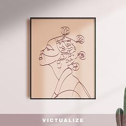 Abstract neutral line art women