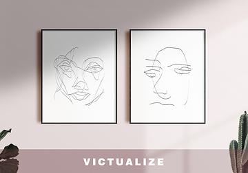 Set of 2 line art illustrations printable on etsy