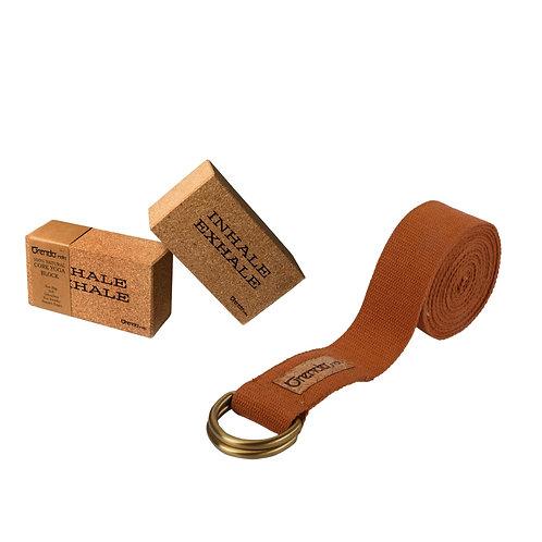 CottonYoga Belt with Cork Yoga Block ( Set of 2 ) Combo