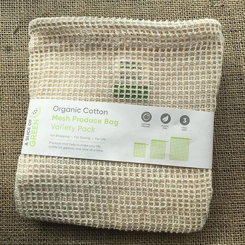 Organic Cotton Mesh Produce Bag Variety Pack