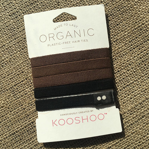 Kooshoo Organic Plastic-Free Hair Ties - Brown/Black