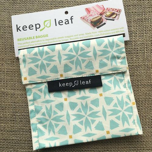 Keep Leaf Reusable Sandwich Baggie - Blue Geo
