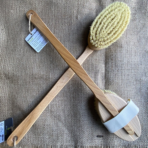 Wooden Bath Brush with Replaceable Head