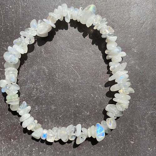 Rainbow Moonstone Chip Bracelet
