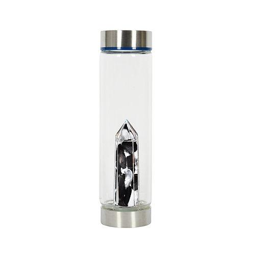 BeWater Glass Bottle - Obsidian & Rock Crystal